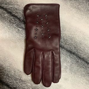 { Coach } Star Studded Leather Gloves Burgundy